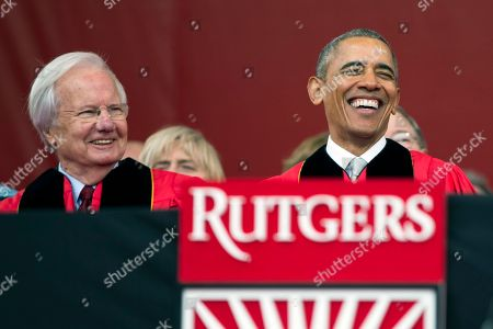 Barack Obama, Bill Moyers President Barack Obama, right, laughs as he sits with Bill Moyers during Rutgers University's 250th Anniversary commencement ceremony in Piscataway, N.J. Colleges that pay for celebrities say it can impress donors and attract the attention of potential students. But steep costs for some speakers have drawn criticism in some years. According to documents obtained by The Associated Press through records requests, Rutgers University paid a $35,000 speaking fee to Moyers, even though he was later replaced as keynote speaker by Obama, who wasn't paid a fee