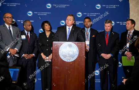 Scott Smith, Kevin Johnson, Stephanie Rawlings-Blake, Bill Bell, Brian Wahler, Mike Coleman, Shane Bemis U.S. Conference of Mayors president, Mayor Scott Smith, of Mesa, Ariz., speaks during the opening press conference of the 82nd winter meeting of the U.S. Conference of Mayors on in Washington. The nation's mayors say U.S. cities have largely rebounded since the economic downturn and want Congress to work together to bring more stability to the financial markets. From left, Mayor Mike Coleman, of Columbus, Ohio, Mayor Bill Bell, of Durham, N.C., Mayor Stephanie Rawlings-Blake, of Baltimore, Md., Smith, Mayor Kevin Johnson, of Sacramento, Calif, Mayor Brian Wahler, of Piscataway, N.J. and Mayor Shane Bemis, of Gresham, Oregon