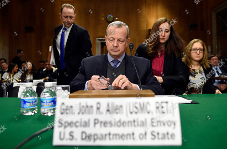 John Allen Special Presidential Envoy for the Global Coalition to Counter IS, retired Gen. John R. Allen prepares to testify on Capitol Hill in Washington, before the Senate Foreign Relations Committee to examine the fight against the Islamic State of Iraq and Syria