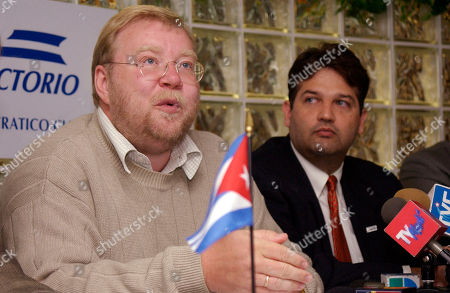 LAAR CESPEDES Former Estonian Prime Minister Mart Laar, left, speaks during a news conference at the Cuban Democratic Directorate in Miami, . Et right is directorate president Javier de Cespedes. Laar pitched his country's peaceful overthrow of Soviet rule as a model for anti-Castro Cuban dissidents working to democratize their island nation