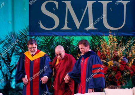 Dalai Lama, Dalai Lama, Paul Ludden, Steve Edwards The Dalai Lama, center, is escorted by SMU provost Paul Ludden, left, Professor Steve Edwards to receive an honorary degree at SMU in Dallas, . The Dalai Lama was on hand to for special lecture as part of 10th Hart Global Leader Forum at the university