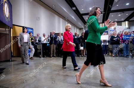 Hillary Clinton, Alison Lundergan Grimes Democratic presidential candidate Hillary Clinton, center, accompanied by Kentucky Secretary of State Alison Lundergan Grimes, right, attends a get out the vote event at James E. Bruce Convention Center in Hopkinsville, Ky