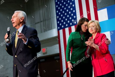 Hillary Clinton, Steve Beshear, Alison Lundergan Grimes Kentucky Secretary of State Alison Lundergan Grimes, second from right, speaks to Democratic presidential candidate Hillary Clinton, right, as Former Kentucky Gov. Steve Beshear, left, speaks at a get out the vote event at James E. Bruce Convention Center in Hopkinsville, Ky