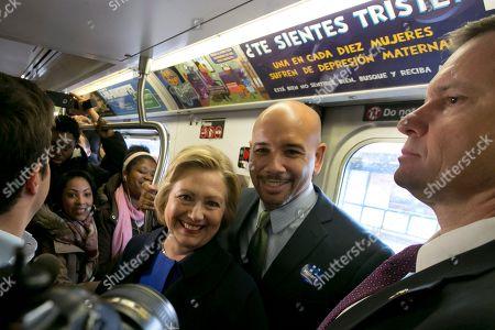Hillary Clinton, Ruben Diaz Jr Democratic presidential candidate Hillary Clinton and Bronx Borough President Ruben Diaz Jr. ride the subway in the Bronx borough of New York