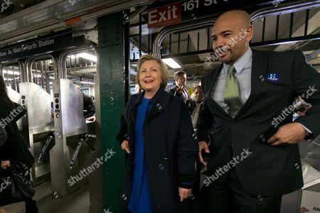 Hillary Clinton, Ruben Diaz Jr Democratic presidential candidate Hillary Clinton and Bronx Borough President Ruben Diaz Jr. enter the subway in the Bronx borough of New York