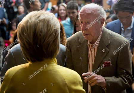 Hillary Clinton, George Shultz Democratic presidential candidate Hillary Clinton speak with President Ronald Reagan's former Secretary of State George Shultz after speaking about counterterrorism, at the Bechtel Conference Center at Stanford University in Stanford, Calif