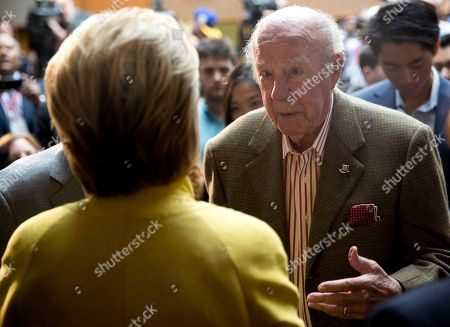 Hillary Clinton, George Shultz Democratic presidential candidate Hillary Clinton speak with President Reagan's former Secretary of State George Shultz after speaking about counterterrorism at the Bechtel Conference Center at Stanford University, in Stanford, Calif