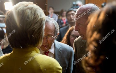 Hillary Clinton, George Shultz, William Perry Democratic presidential candidate Hillary Clinton speaks with former Secretary of State George Shultz, right, and former Defense Secretary William Perry, center, after speaking about counterterrorism, at the Bechtel Conference Center at Stanford University in Stanford, Calif