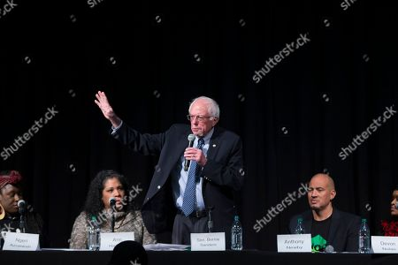 Stock Picture of Bernie Sanders Democratic presidential candidate Sen. Bernie Sanders, I-Vt., speaks during a forum on race and economic opportunity at Patrick Henry High School,, in Minneapolis, Minn