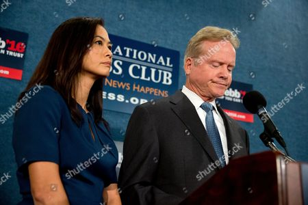 Jim Webb, Hong Le Webb Former Virginia Sen. Jim Webb, accompanied by his wife Hong Le Webb, pauses as he announces he will drop out of the Democratic race for president, during a news conference at the National Press Club in Washington