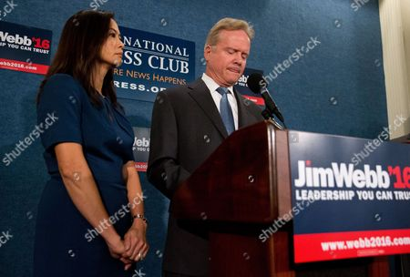 Jim Webb, Hong Le Webb Former Virginia Sen. Jim Webb, accompanied by his wife Hong Le Webb, announces he will drop out of the Democratic race for president, during a news conference at the National Press Club in Washington