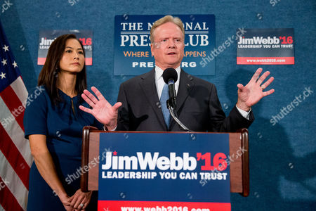 Jim Webb, Hong Le Webb Former Virginia Sen. Jim Webb, accompanied by his wife Hong Le Webb, left, announces he will drop out of the Democratic race for president, during a news conference at the National Press Club in Washington
