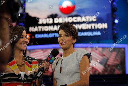 Eva Longoria, Mariana Atencio Actress Eva Longoria, right, is interviewed by Mariana Atencio of Univision on the floor of the Democratic National Convention in Charlotte, N.C