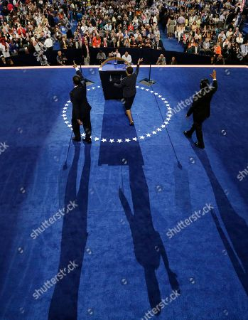 From left, Rep. Emanuel Cleaver II of Missouri and Rep. Karen Bass of California and Rep. Al Green of Texas walk up to the podium to speak at the Democratic National Convention in Charlotte, N.C., on
