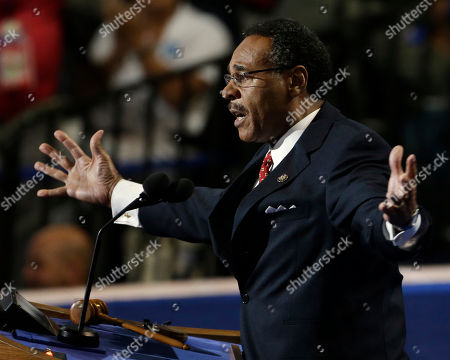 Rep. Emanuel Cleaver II of Missouri speaks to delegates at the Democratic National Convention in Charlotte, N.C., on