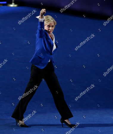Former Michigan Gov. Jennifer Granholm punches the air after her speech at the Democratic National Convention in Charlotte, N.C., on