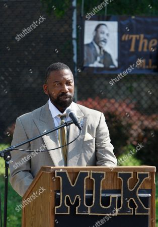 Stock Photo of Robert Bobb Detroit Public Schools financial manager Robert Bobb addresses attendees at a groundbreaking for the new Martin Luther King High School in Detroit