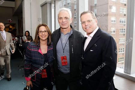 Stock Photo of Pam Zaslav, Jeremy Wade, David Zaslav IMAGE DISTRIBUTED FOR DISCOVERY COMMUNICATIONS INC - Pam Zaslav, Jeremy Wade, and David Zaslav, President and CEO of Discovery Communications, are seen at the Discovery Communications 2014 Upfront Presentation at Jazz Lincoln Center, in New York City, on