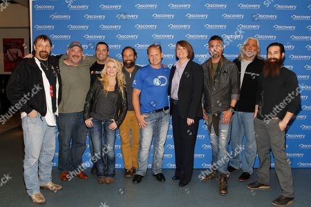 Jonathan Hillstrand, Keith Colburn, Mike Barwis, Mandy Hansen, Matt Graham, Nick Wallenda, Eileen O'Neill, Richard Rawlings, Bill Wichrowski, Aaron Kaufman IMAGE DISTRIBUTED FOR DISCOVERY COMMUNICATIONS INC - Jonathan Hillstrand, Keith Colburn, Mike Barwis, Mandy Hansen, Matt Graham, Nick Wallenda, Eileen O'Neill, President of Discovery Channel and Science Channel, Richard Rawlings, Bill Wichrowski, and Aaron Kaufman are seen at the Discovery Communications 2014 Upfront Presentation at Jazz Lincoln Center, in New York City, on