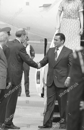 Hosni Mubarak, David Newsom Egyptian Vice President Hosni Mubarak, right, is greeted by U.S. Undersecretary of State David Newsom after arriving by plane at Andrews Air Force Base in Maryland
