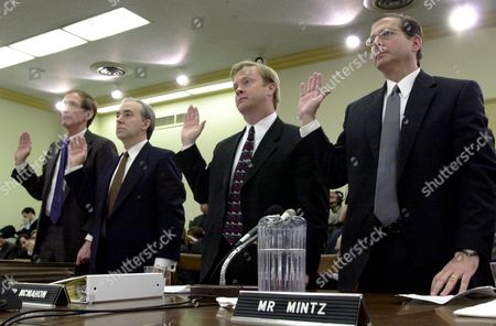 MINTZ A group called to appear in the Enron investigation are sworn in on Capitol Hill prior to testifying before the House Oversight and Investigations subcommittee. From left are, John Olson, senior vice president and director of research Sanders, Morris, Harris; Thomas Bauer of Arthur Andersen Enron's former accounting firm; Jeffrey McMahon, president and chief operating officer, Enron; and Jordan Mintz, former Enron attorney