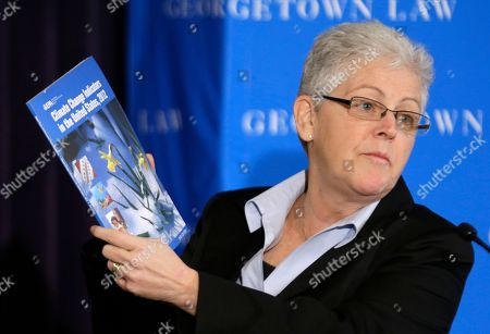 Gina McCarthy Gina McCarthy, Assistant Administrator with the Environmental Protection Agency, holds a climate change report as she speaks at a climate workshop sponsored by The Climate Center at Georgetown University, in Washington. President Barack Obama is poised to nominate McCarthy as head of the powerful Environmental Protection Agency. McCarthy, who currently heads the EPA's Office of Air and Radiation, reportedly has the inside track to replace Lisa Jackson, who officially stepped down from the agency last week