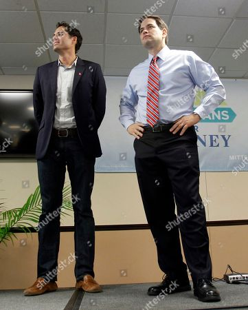 Marco Rubio, Craig Romney Sen. Marco Rubio, R-Fla., right and Craig Romney, son of Republican presidential candidate, former Massachusetts Gov. Mitt Romney, listen to introductions as they prepare to address supporters at a student rally at Florida International University in Miami