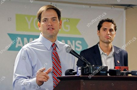 Marco Rubio, Craig Romney Sen. Marco Rubio, R-Fla., left, accompanied by Craig Romney, son of Republican presidential candidate, former Massachusetts Gov. Mitt Romney, speaks to supporters at a student rally at Florida International University in Miami