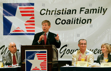 Bill McCollum, Anthony Verdugo, Holly Benson, Esteban L. Bovo Jr Florida Republican gubernatorial candidate Bill McCollum gestures as he speaks during a forum sponsored by the Christian Family Coalition, in Miami. McCollum and candidate Rick Scott touted their conservative principles Saturday and promised, if elected, to create jobs, make it easier to do business in Florida and fight President Barack Obama's health care plan. Both said their belief in God would influence how they govern. Seated from left, Anthony Verdugo, founder and executive director of the CFC, Fla. Rep. Esteban L. Bovo Jr., and candidate for Fla. Attorney General Holly Benson