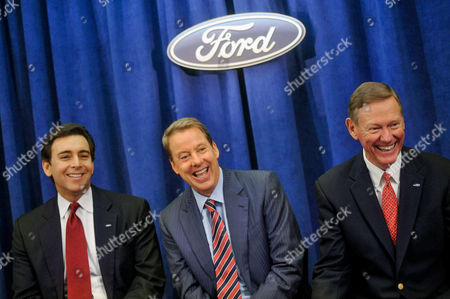 Mark Fields, Bill Ford Jr. Alan Mullaly From left, Ford Motor Co. Chief Operating Officer and newly appointed CEO Mark Fields, Chairman Bill Ford Jr., and current President and CEO Alan Mulally joke around as they field questions from the media at the company's annual shareholders meeting in Wilmington, Del., . Fields will take over as CEO when Mulally retires July 1