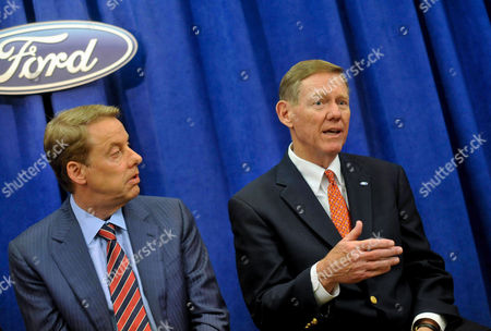Alan Mulally, Bill Ford Jr Ford Motor Co. CEO and President Alan Mulally, right, reflects on his many accomplishments during his time spent with Ford, as Chairman Bill Ford Jr. listens, during the company's annual shareholders meeting in Wilmington, Del., . Mulally will retire on July 1