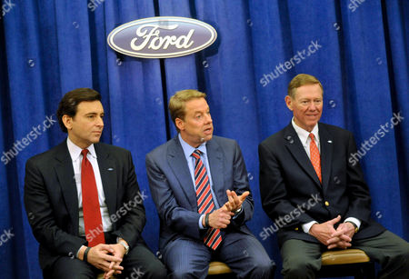 Stock Photo of Mark Fields, Bill Ford Jr. Alan Mullaly From left, Ford Motor Co. Chief Operating Officer and newly appointed CEO Mark Fields, Chairman Bill Ford Jr., and current President and CEO Alan Mulally field questions from the media at the company's annual shareholders meeting in Wilmington, Del., . Fields will take over as CEO when Mulally retires July 1