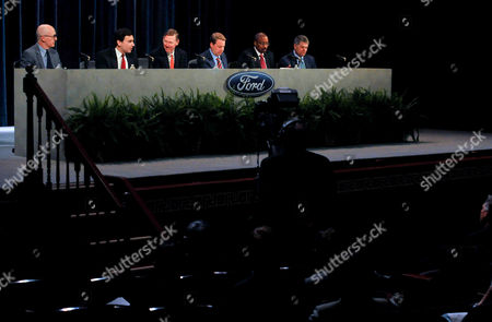 Robert Shanks, Mark Fields, Alan Mulally, Bill Ford Jr., Bradley Gayton, David Leitch From left, Ford Motor Co. Chief Financial Officer Robert Shanks, Chief Operating Officer and newly appointed CEO Mark Fields, current CEO and President Alan Mulally, Chairman Bill Ford Jr., Corporate Secretary Bradley Gayton, and Group Vice President of the Office of the General Counsel David Leitch sit at the dais during the company's annual shareholders meeting in Wilmington, Del