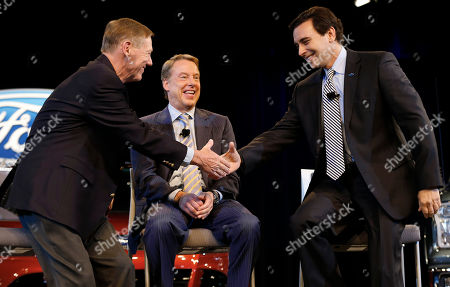Alan Mulally, Bill Ford Jr., Mark Fields Ford Motor Company President and CEO Alan Mulally, left, and Chief Operating Officer Mark Fields shake hands as Executive Chairman Bill Ford Jr., center, watches during a news conference in Dearborn, Mich., . Ford announced Mulally will retire as CEO July 1 and be replaced by Fields