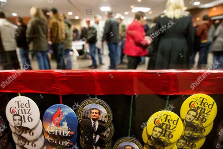 Buttons are on display as guests arrive to hear Republican presidential candidate Sen. Ted Cruz, R-Texas, and Glenn Beck, speak at a rally at the Five Sullivan Brothers Convention Center in Waterloo, Iowa
