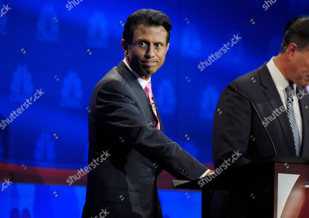 Bobby Jindal pauses during the CNBC Republican presidential debate at the University of Colorado, in Boulder, Colo
