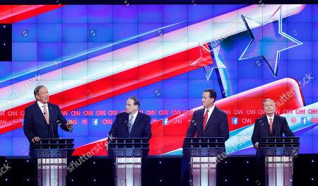 George Pataki, Mike Huckabee, Rick Santorum, Lindsey Graham George Pataki, left, speaks as Mike Huckabee, second from left, Rick Santorum, second from right, and Lindsey Graham look on during the CNN Republican presidential debate at the Venetian Hotel & Casino, in Las Vegas
