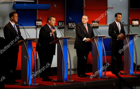 Chris Christie, Rick Santorum, Mike Huckabee, Bobby Jindal Chris Christie, second from left, speaks as Rick Santorum, left, Mike Huckabee and Bobby Jindal look on during Republican presidential debate at Milwaukee Theatre, in Milwaukee