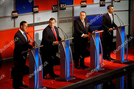 Rick Santorum, Chris Christie, Mike Huckabee, Bobby Jindal Rick Santorum, left, speaks as Chris Christie, Mike Huckabee and Bobby Jindal listen during Republican presidential debate at Milwaukee Theatre, in Milwaukee