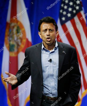 Stock Picture of Bobby Jindal Republican presidential candidate, Louisiana Governor Bobby Jindal, addresses the Sunshine Summit in Orlando, Fla