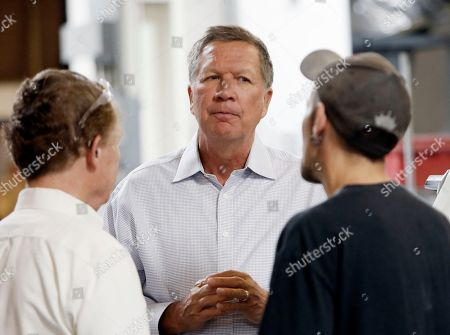 Stock Picture of John Kasich, Joe Shean, Joshua Bowman Ohio Gov. John Kasich talks with Joshua Bowman, right, and Joe Shean during a visit at RP Abrasives in Rochester, N.H. Kasich is declaring his candidacy for the 2016 Republican presidential nomination on July 21