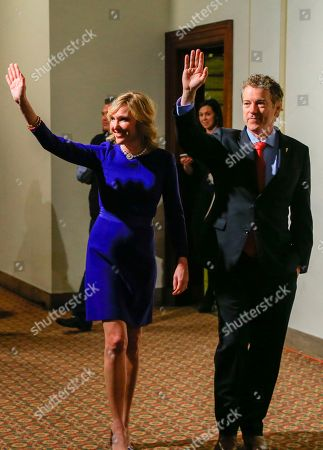 Rand Paul, Kelley Paul Republican presidential candidate, Sen. Rand Paul, R-Ky, and wife Kelley wave to supporters as they arrive to a caucus night victory party at the Scottish Rite Consistory in Des Moines, Iowa