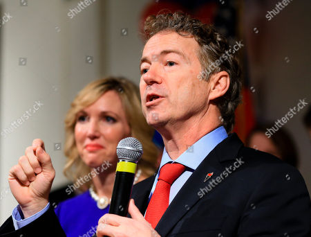 Rand Paul, Kelley Paul Republican presidential candidate, Sen. Rand Paul, R-Ky, speaks to supporters with his wife Kelley by his side, during a caucus night victory party at the Scottish Rite Consistory in Des Moines, Iowa