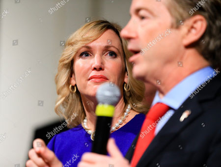 Rand Paul, Kelley Paul Kelley Paul, wife of Republican presidential candidate, Sen. Rand Paul, R-Ky, watches him speak to supporters during a caucus night rally at the Scottish Rite Consistory in Des Moines, Iowa