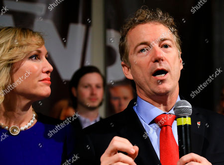 Rand Paul, Kelley Paul Republican presidential candidate, Sen. Rand Paul, R-Ky, is watched by his wife Kelley, as he speaks to supporters during a caucus night rally at the Scottish Rite Consistory in Des Moines, Iowa