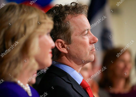Rand Paul, Kelley Paul In this Feb. 1, 2016 photo, Sen. Rand Paul, R-Ky, with his wife Kelley by his side, waits to be introduced during a caucus night victory party at the Scottish Rite Consistory in Des Moines, Iowa. Paul is dropping out of the 2016 race for president. A campaign spokeswoman confirmed his decision, to The Associated Press, saying a statement would be forthcoming