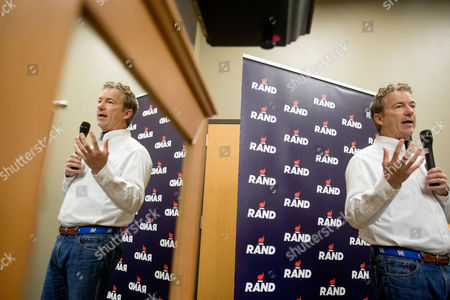Stock Image of Rand Paul Republican presidential candidate Sen. Rand Paul, R-Ky., speaks after firing an AR-15 rifle at Crossroads Shooting Sports in Johnston, Iowa
