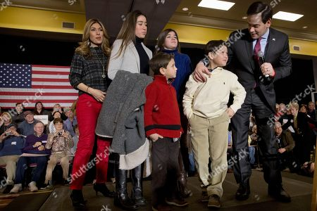 Marco Rubio, Jeanette Dousdebes, Amanda Rubio, Daniella Rubio, Dominick Rubio, Anthony Rubio The family of Republican presidential candidate, Sen. Marco Rubio, R-Fla., from left, wife Jeanette Dousdebes, and their children Amanda Rubio, 15, Daniella Rubio, 13, Dominick Rubio, 8, and Anthony Rubio, join the candidate on stage during a town hall meeting in Myrtle Beach, S.C