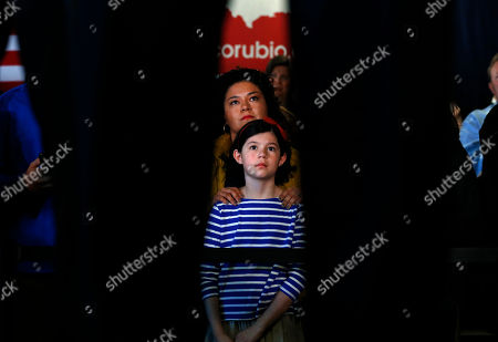 Marco Rubio Jessica Clements and her daughter Rory, 8, listen to Republican presidential candidate, Sen. Marco Rubio, R-Fla., speak during a town hall, in Greenville, S.C