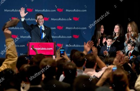 Marco Rubio, Amanda Rubio, Daniella Rubio, Anthony Rubio, Dominick Rubio, Jeanette Dousdebes Republican presidential candidate Sen. Marco Rubio, R-Fla., waves to cheering supporters after giving his speech during his primary night rally at the Radisson Hotel in Manchester, N.H., on . At right is his family, Amanda Rubio, 15, Daniella Rubio, 13, Anthony Rubio, 10, Dominick Rubio, 8, and wife Jeanette Dousdebes